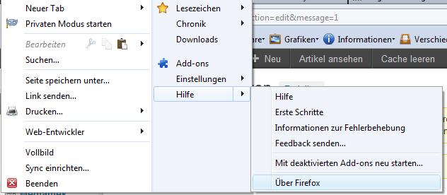 Firefox Menü > Über Firefox