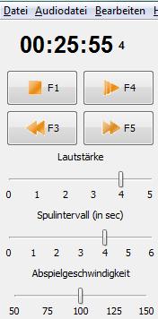 Transkriptionssoftware  - Audiotranskription F4 Menü
