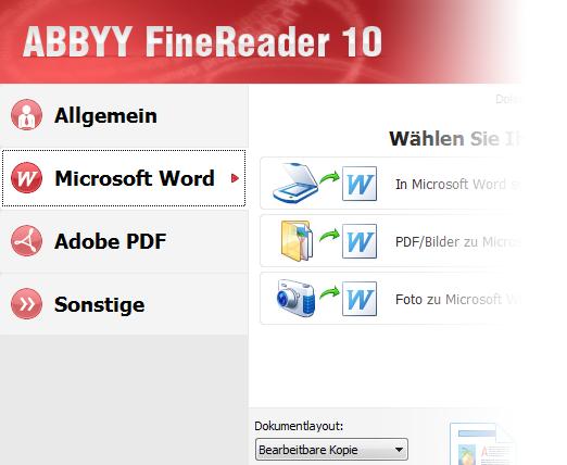Screenshot Abbyy Fine Reader Benutzeroberfläche