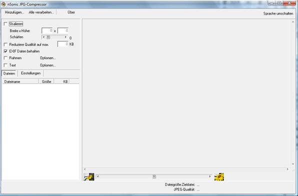 Benutzeroberfläche von jpg Compressor
