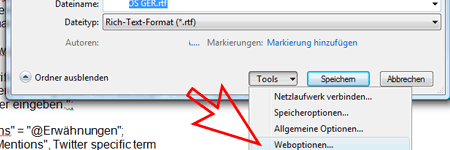 Weboptionen in Microsoft Word