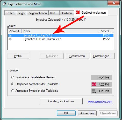 Touchpad Einstellung Synaptics