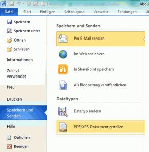 Word 2010 - als PDF speichern