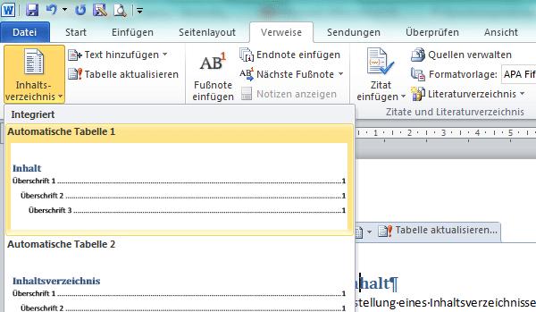 Bild: Inhaltsverzeichnis mit Word einfügen