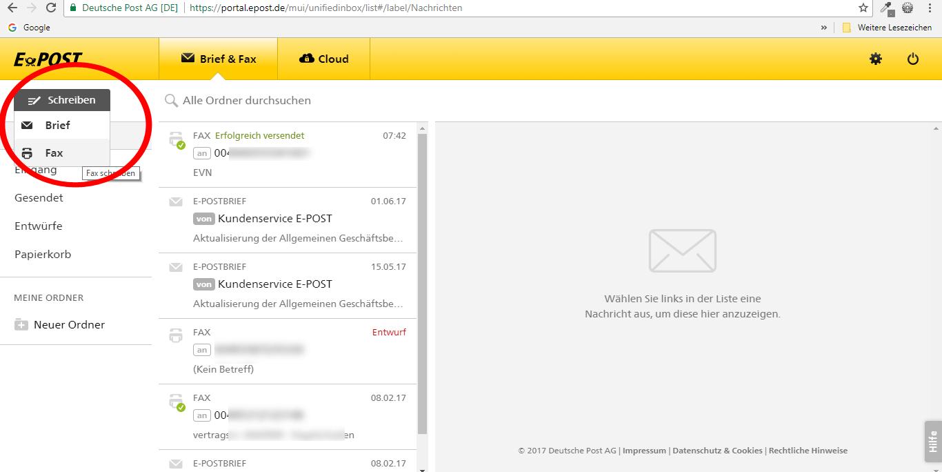 Epost Fax senden