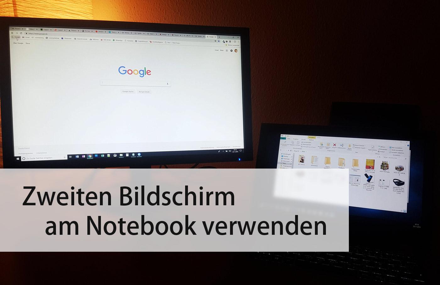 Zweiten Bildschirm am Notebook verwenden