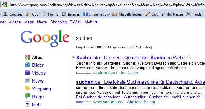 Firefox 4 Suche auf Deutsch