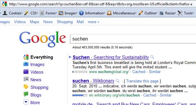 Firefox 4 Suche auf Englisch