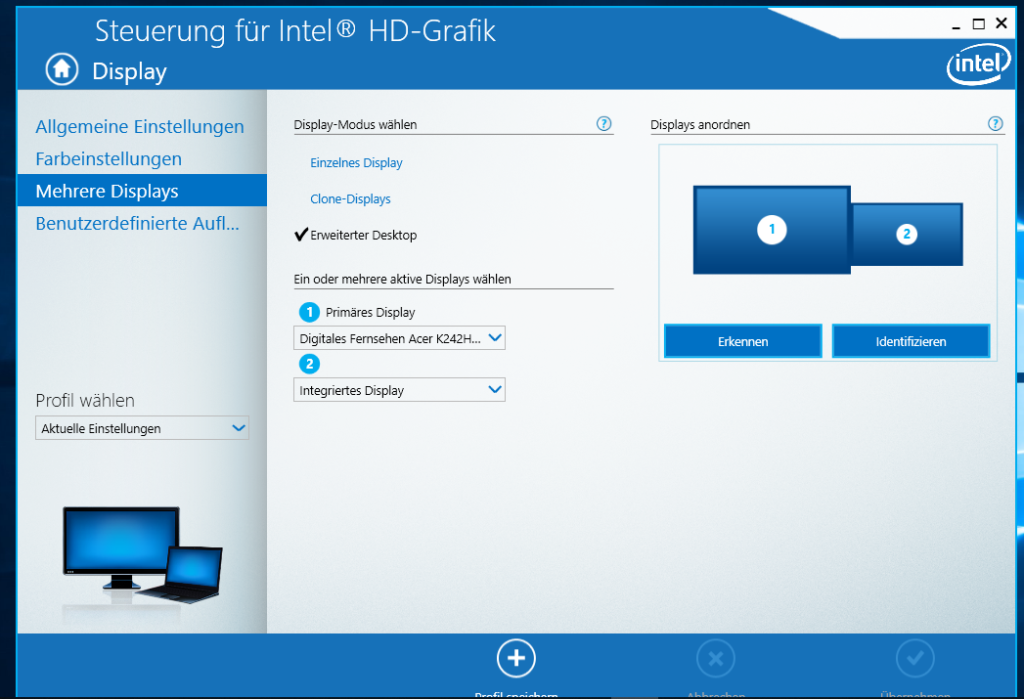 Mehrere Displays -Intel Grafiksteuerung Notebook