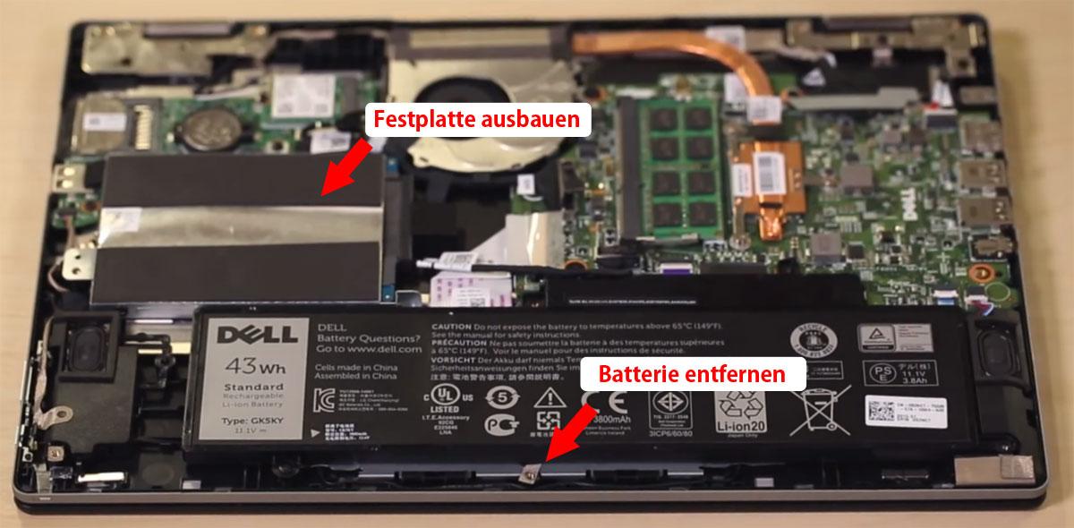 Dell Inspiron Batterie und HDD ausbauen