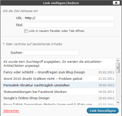 Interne Verlinkung WordPress 3.1