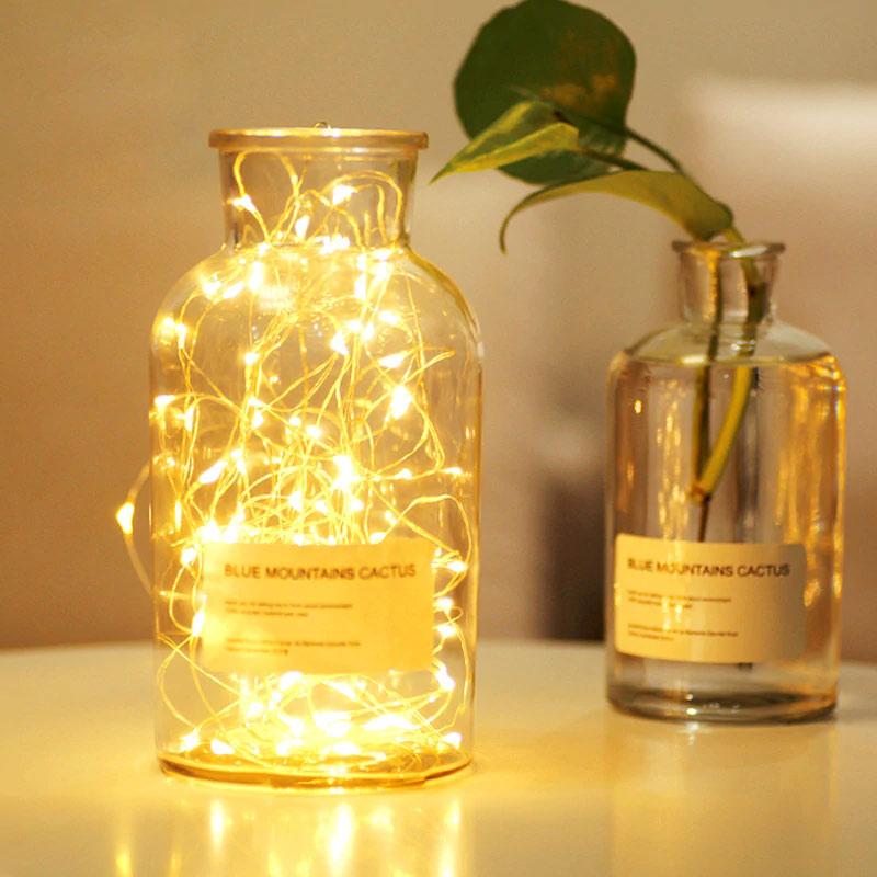 LED Lichterkette in Milchkanne / Vase