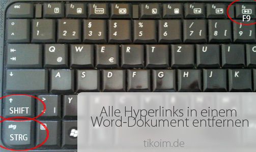 Tastatur - Tastenkombination Links entfernen Word