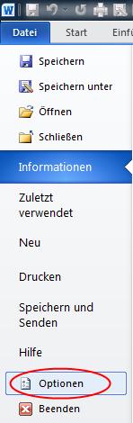 Optionen in MS Office Word 2010