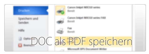 Microsoft Word PDF speichern