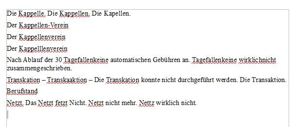 Rechtschreibprüfung in Open Office - viele korrekt gefundene Fehler.