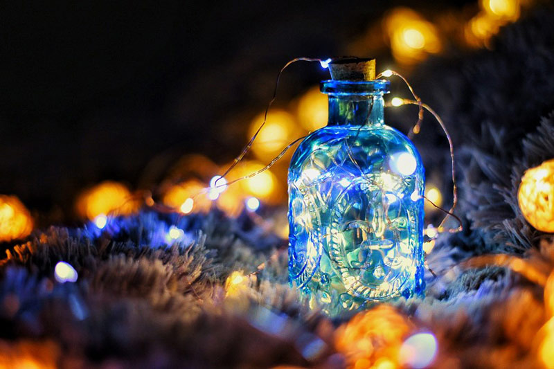 Sinfonie der Lichter - LED Lichter in Vase mit Korken