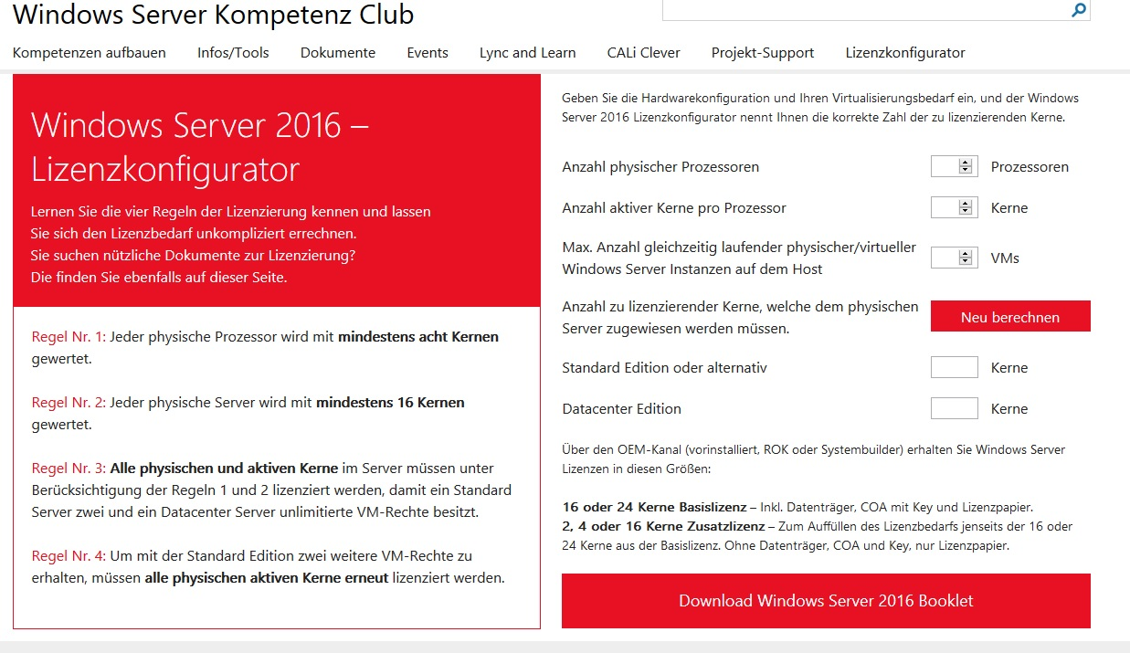 Windows Server 2016 – Lizenzkonfigurator