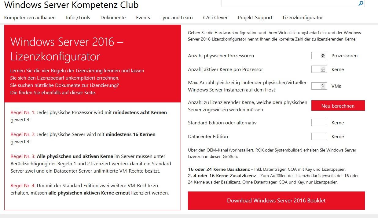 Windows Server 2016 – Lizenzkonfigurator