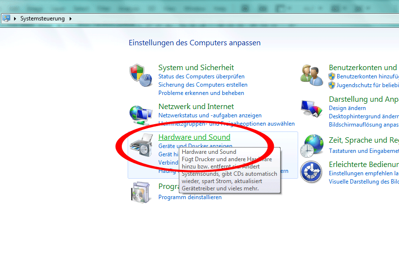 "2. Windows ""Hardware & Sound"" aufrufen"