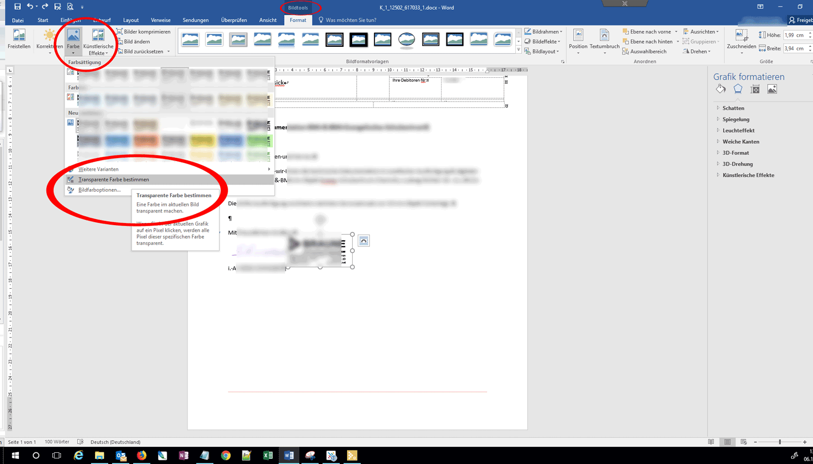 Transparente Farbe in Microsoft Word auswählen (Office 2016 / 2019)