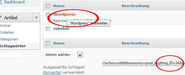 Wordpress Schlagwort ID